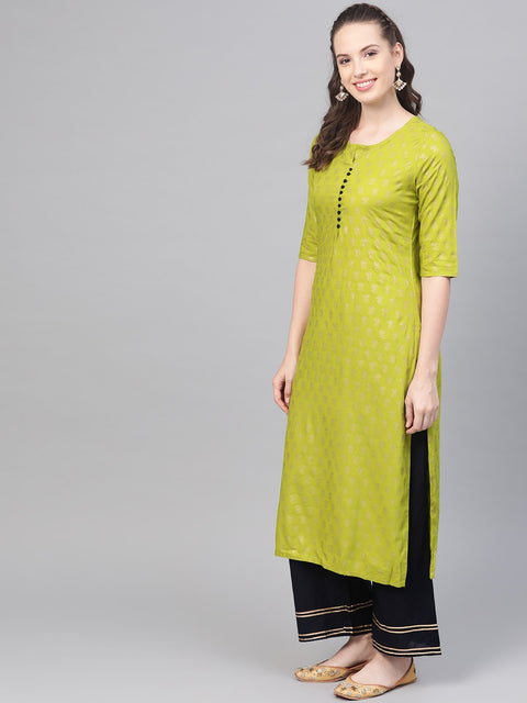 Green gold Printed Straight Kurta set with Navy Blue Palazzo & Net dupatta