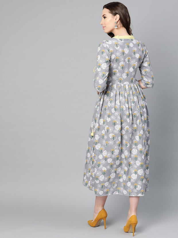 Grey Floral printed Multi colored Maxi dress with Mandarin collar & 3/4 sleeves