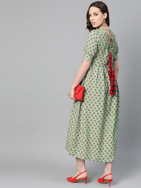 Green Floral printed Maxi dress with Round Neck & gota detailing on sleeves