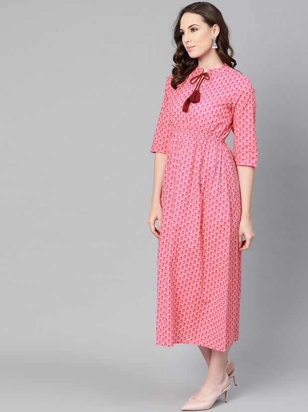 Pink Floral Printed Maxi dress with Chinese collar & 3/4 sleeves