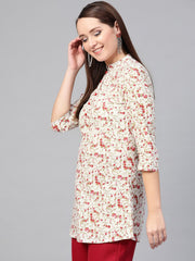 Nayo Women White & Pink Cotton Printed Mandarin Collar Tunic