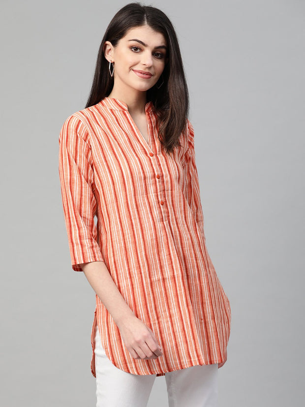 Nayo Women Peach & Orange Cotton Striped Mandarin Collar Tunic