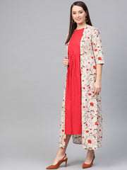 Nayo Women Red & Beige Floral Printed Maxi Dress