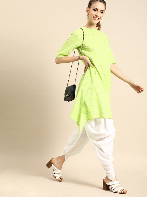 Nayo Women Lime Green Three-Quarter Sleeves Asymmetric Kurta with Dhoti Pants