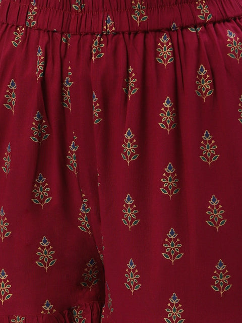 Women Purple Floral Printed Cotton Flared Sharara