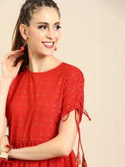 Nayo Women Red Short Sleeves Flared Gathered Kurta With Palazzo