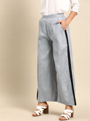 Nayo Women Grey  Self Design Cotton Wide Leg Palazzo