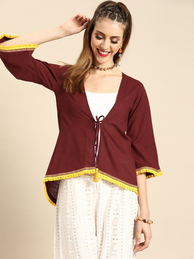 Nayo Women Solid Maroon Shrug With Tassle and Lace Detail