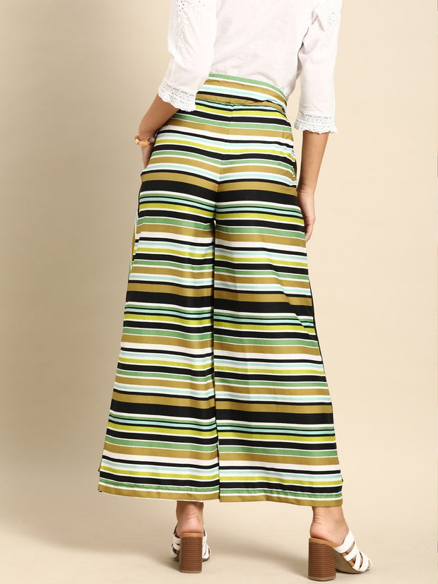 Nayo Women Multi Striped Striped Cotton Wide Leg Palazzo