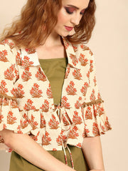 Women Olive Green  Calf Length Three-Quarter Sleeves Straight Floral Printed Cotton Kurta With Jacket
