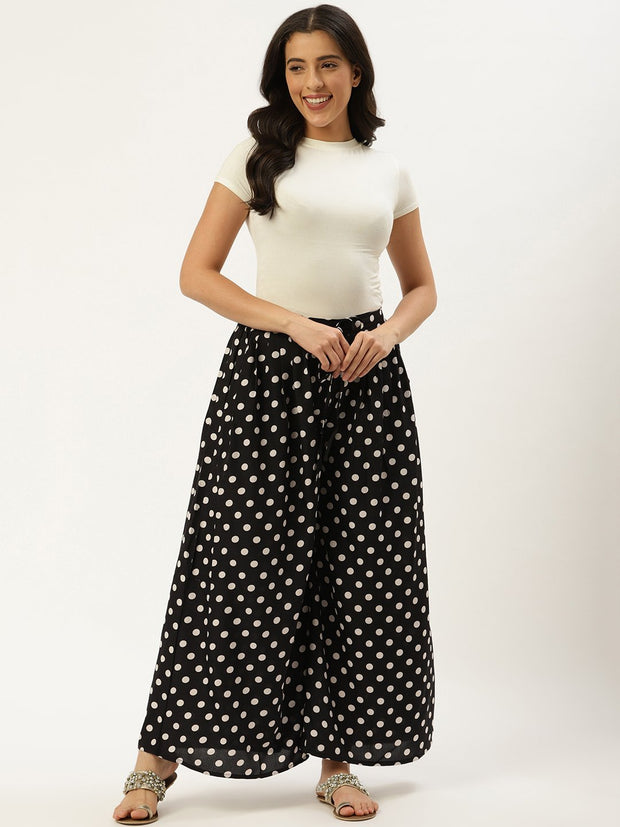 Women Black Polka Dots Printed Crepe Flared Palazzo