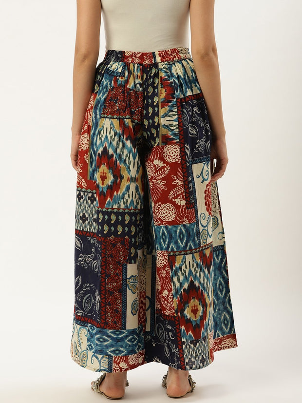 Women Multi Abstract Printed Cotton Flared Palazzo