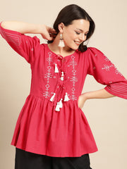 Women Coral Pink Extended Sleeves Tie-Ups Top