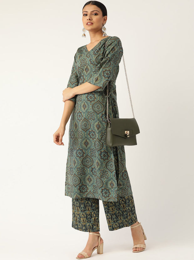 Women Sage Green Three-Quarter Sleeves Printed Straight Pure Cotton Kurta with Palazzo