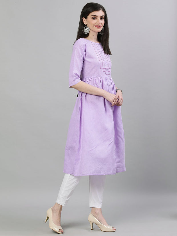 Women Lavender Calf Length Three-Quarter Sleeves A-Line Solid Solid Cotton Kurta