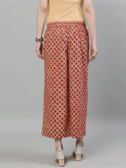 Women Brown Printed Cotton Palazzo