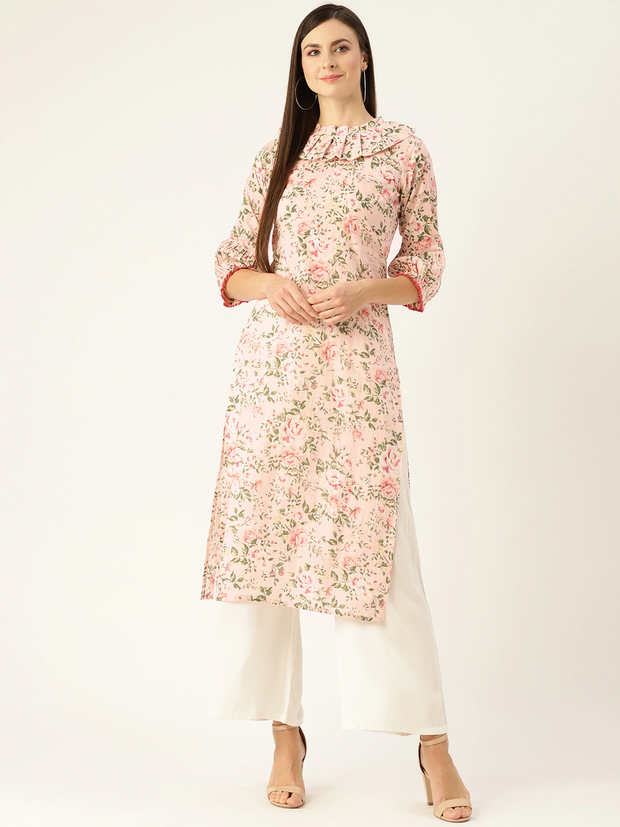 Women Pastel Pink Calf Length Three-Quarter Sleeves Straight Floral Printed  Kurta
