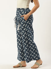 Women Indigo Blue Ethnic Motifs Printed Cotton Wide Leg Palazzo