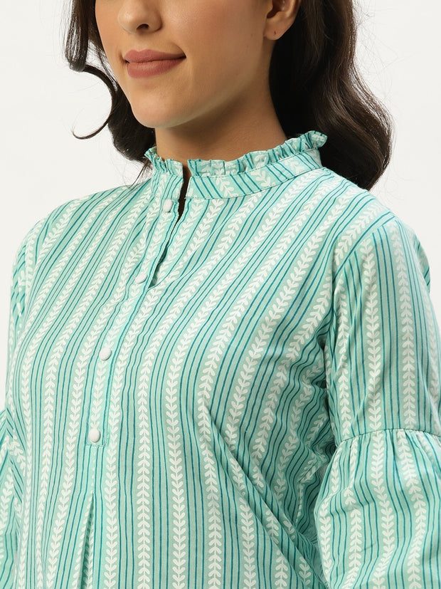 Women Aqua Green Three-Quarter Sleeves Gathered or Pleated Top