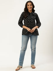 Women Black Three-Quarter Sleeves Gathered or Pleated Top