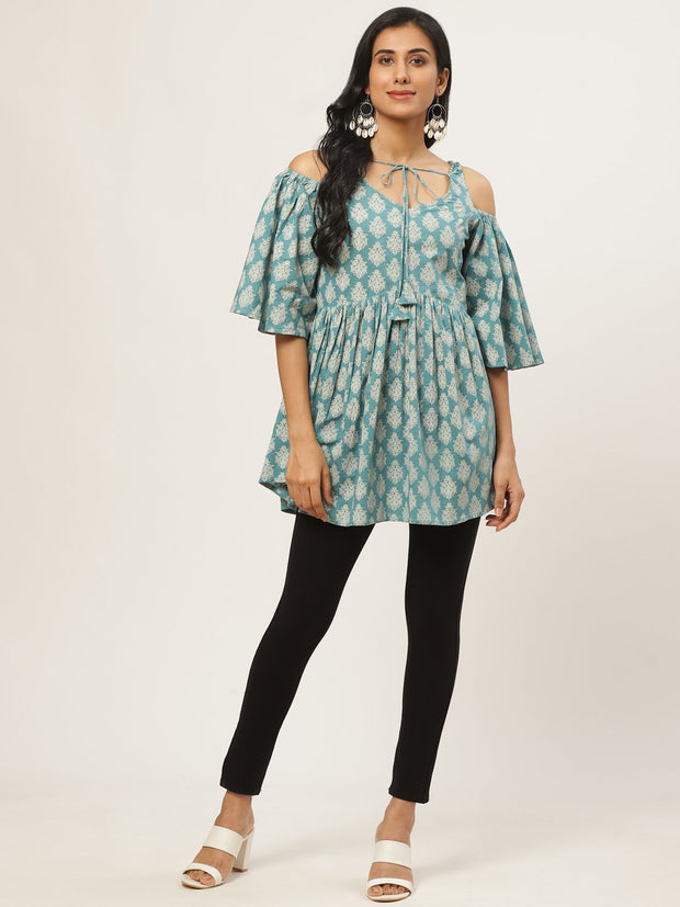 Women Turq Printed tie-up tunic