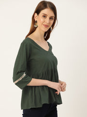 Women Green Three-Quarter Sleeves Lace-Up Top