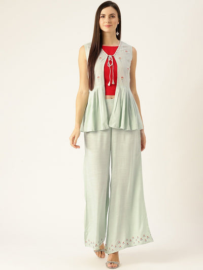 Women Grey Embroidered Top Pant with shrug Set