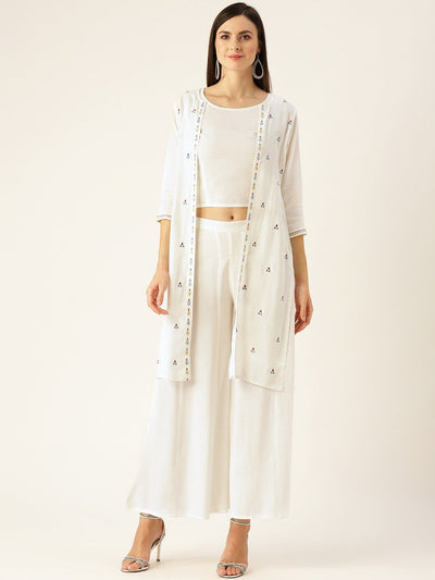 Women Offwhite Embroidered Top Pant with shrug Set