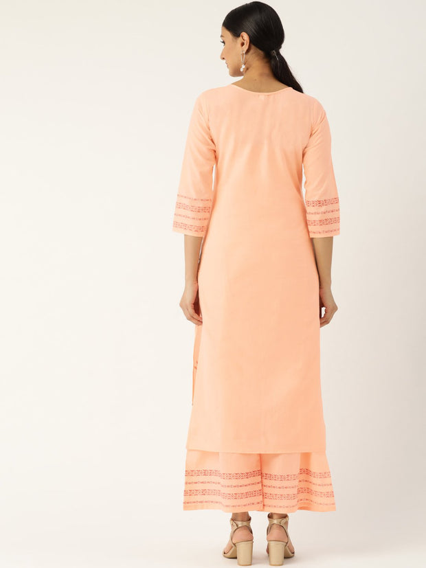 Women Peach-Coloured & Red Printed Kurta with Palazzos