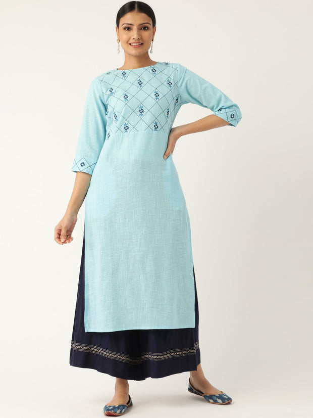 Women Blue Calf Length Three-Quarter Sleeves Straight Solid Embroidered Cotton Kurta