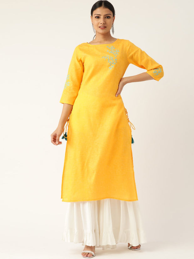 Women Yellow Calf Length Three-Quarter Sleeves Straight Solid Embroidered Cotton Kurta