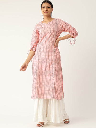 Women Baby Pink Calf Length Three-Quarter Sleeves Straight Floral Printed Cotton Kurta