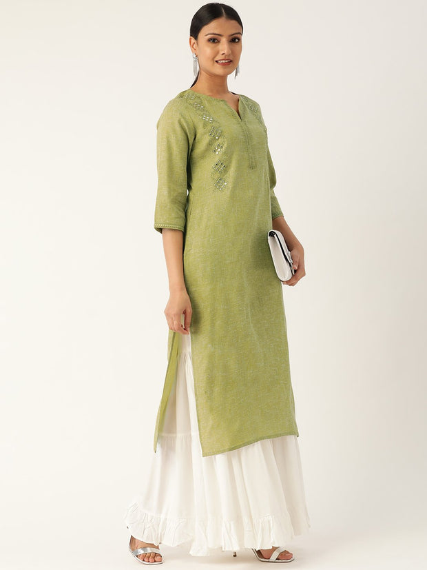 Women Green Calf Length Three-Quarter Sleeves Straight Solid Embroidered Cotton Kurta