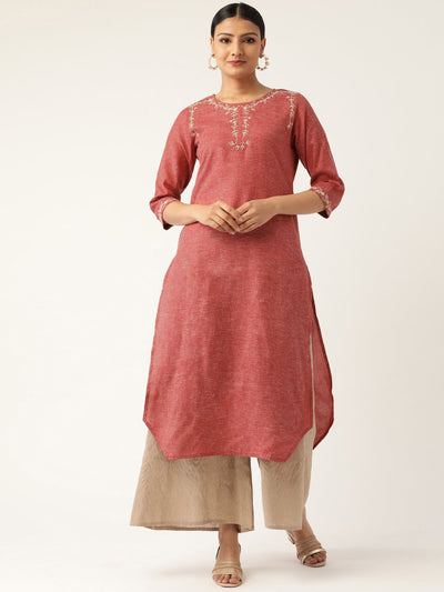 Women Maroon Calf Length Three-Quarter Sleeves Straight Solid Embroidered Cotton Kurta