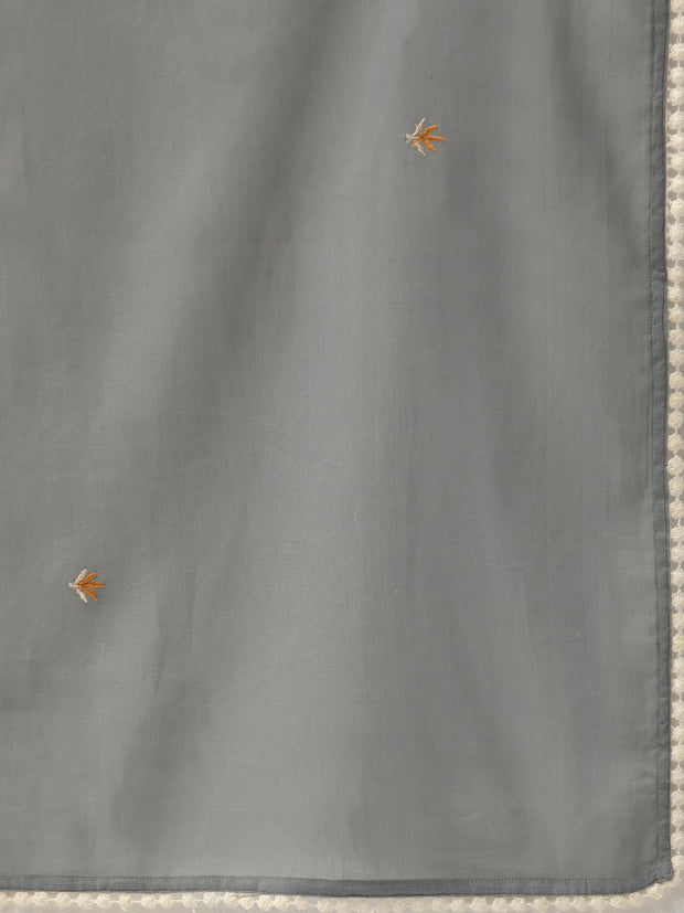 Women Grey & Orange Embroidered Kurta with Trousers & Dupatta