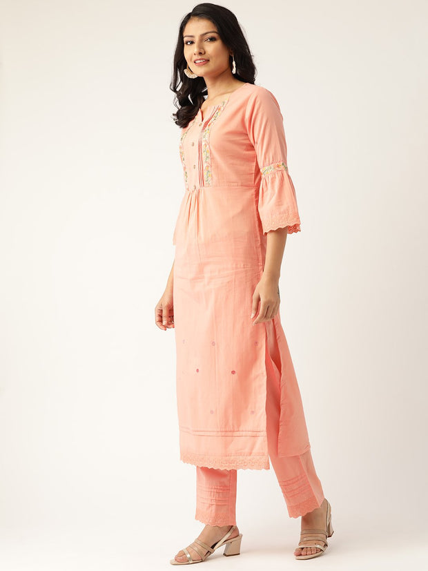 Women Peach-Coloured Embroidered Kurta with Palazzos & Dupatta