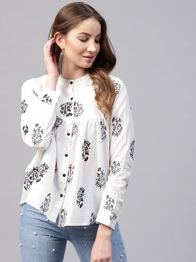 Nayo White Printed Full sleeve cotton flared Tunics