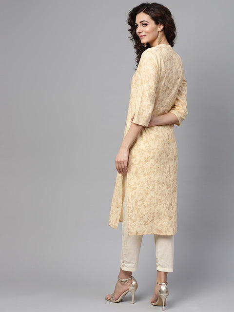 Cream & Gold Floral printed Kurta Set with Solid Cream pants