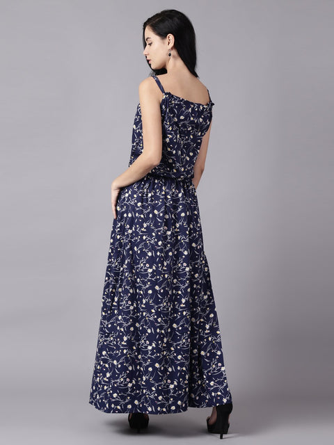 Daima Women Navy Blue Floral Printed Shoulder Straps A-Line Dress