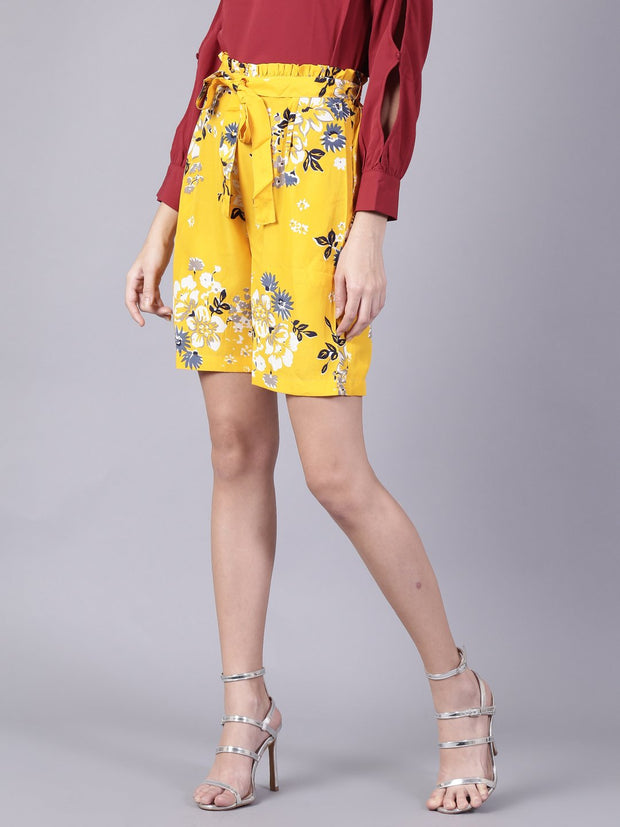 Daima Women Mustard yellowSlip-On Printed  Polyester Shorts