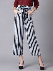 Daima Women Sky Blue Striped Casual Texture Georgette Trouser