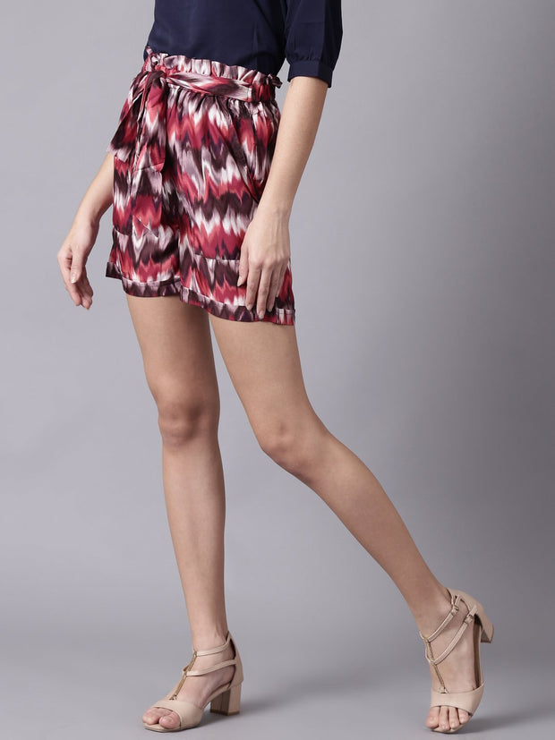 Daima Women MultiSlip-On Printed  Polyester Shorts
