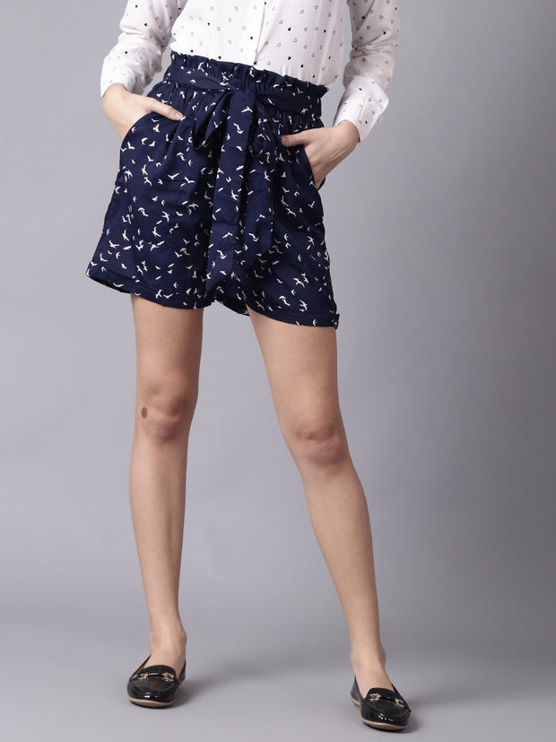 Daima Women Navy BlueSlip-On Printed  Polyester Shorts