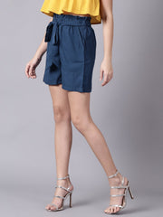Daima Women Navy BlueSlip-On Solid  Polyester Shorts