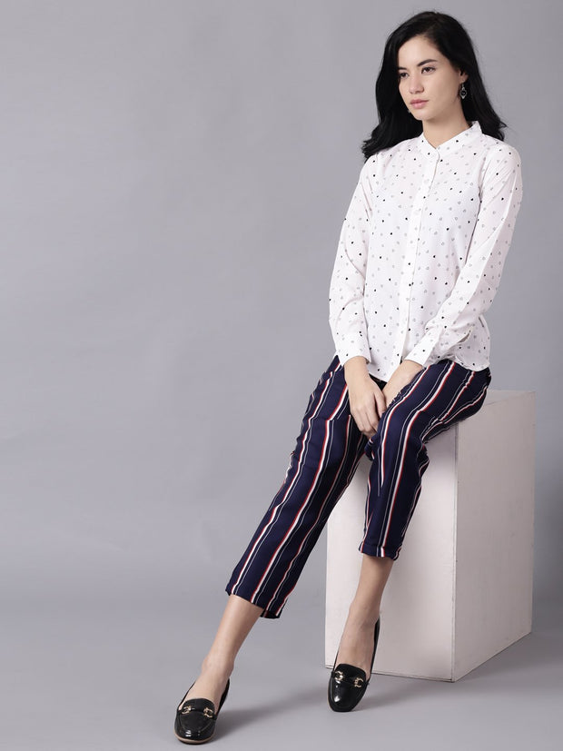 Daima Women Navy Blue Striped Casual Crepe Trouser