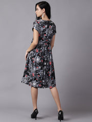 Daima Women Black Floral Printed Round Neck A-Line Dress