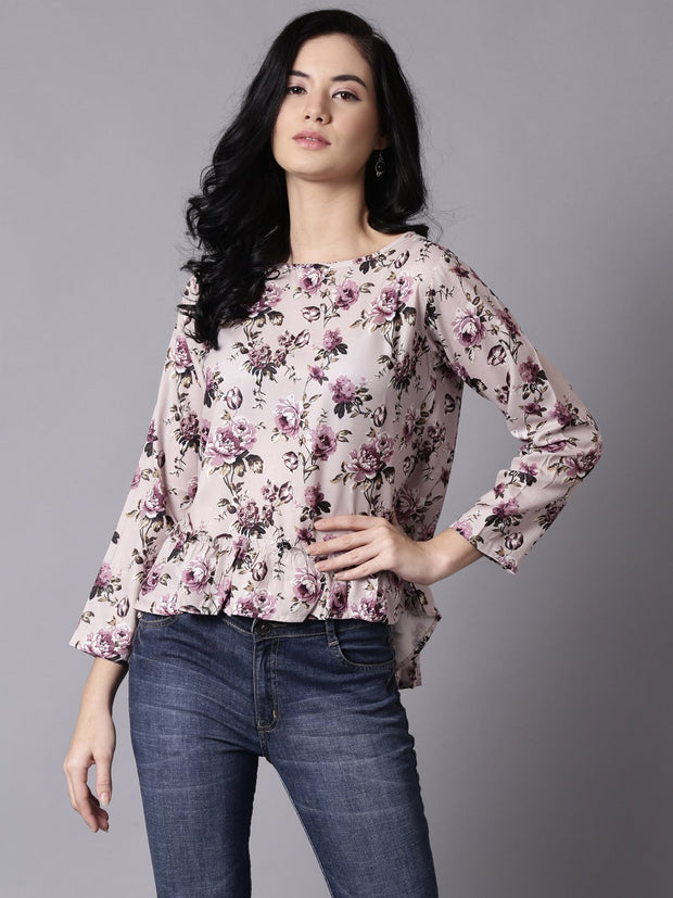 Daima Women Beige Casual Printed Round Neck Top