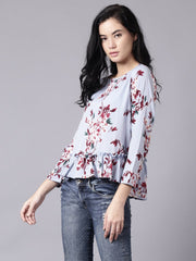 Daima Women Blue Casual Printed Round Neck Top