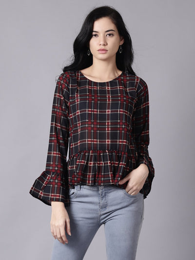 Daima Women Blue Casual Checked Round Neck Top