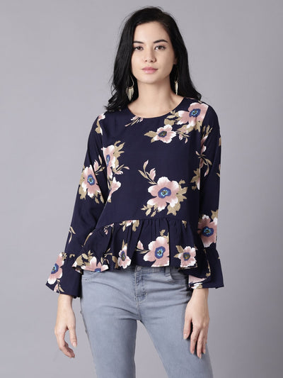 Daima Women Navy Blue Casual Printed Round Neck Top